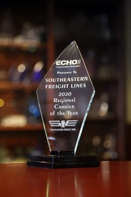 Southeastern Freight Lines Recognized as 2020 Echo Global Logistics Regional LTL Carrier of the Year